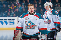 KELOWNA, CANADA - JANUARY 18: Brodan Salmond #31 of the Kelowna Rockets skates to the bench against the Moose Jaw Warriors on January 18, 2017 at Prospera Place in Kelowna, British Columbia, Canada.  (Photo by Marissa Baecker/Shoot the Breeze)  *** Local Caption ***