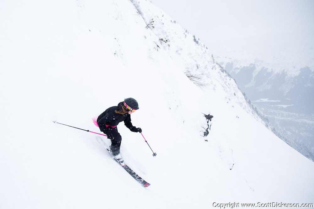 Beth Cleary. Female skiers enjoying a day of skiing at Alyeska Resort in Girdwood, Alaska as part of the  Get the Girls Out campaign organized by SheJumps.