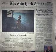 "THE NEW YORK TIMES. A1. ""Torment in Venezuela - Lacking Drugs, Mentally Ill Drift Into Despair and Psychosis"" by Nicholas Casey. October 2, 2016"