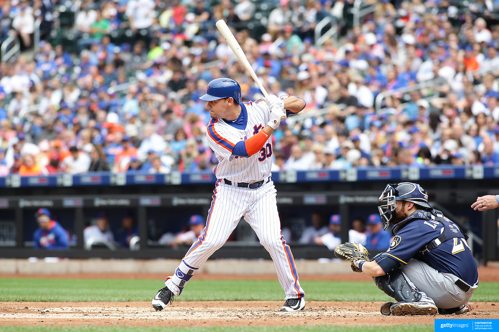 NEW YORK, NEW YORK - May 22:  Michael Conforto #30 of the New York Mets batting during the Milwaukee Brewers Vs New York Mets regular season MLB game at Citi Field on May 22 2016 in New York City. (Photo by Tim Clayton/Corbis via Getty Images)