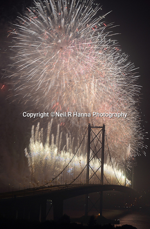 Forth Bridges Festival Torchlight Procession and Fireworks Finale. <br /> <br />  Neil Hanna Photography<br /> www.neilhannaphotography.co.uk<br /> 07702 246823