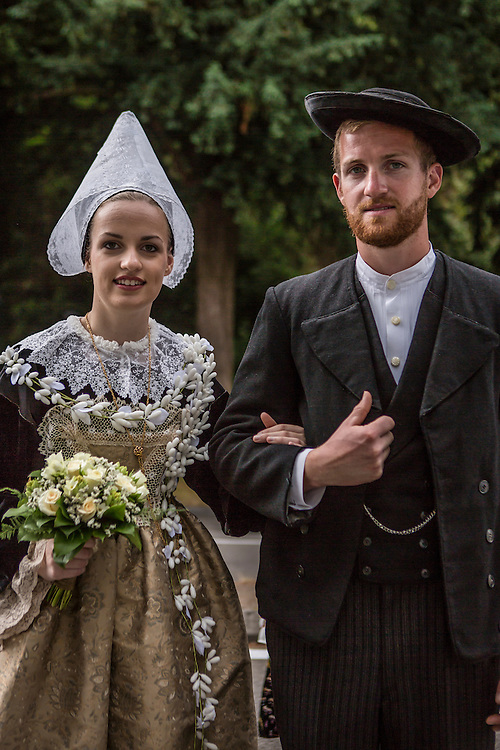 Nolwenn Peuron, left, and Kevin Peuron pose for a portrait before the Great Parade at the Festival de Cornouaille on Sunday, July 24, 2016 in Quimper, France. She would later be crowned the Festival Queen.