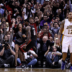 March 10, 2011; Miami, FL, USA; The crowd reacts following a buzzer beating shot by Miami Heat small forward LeBron James (6) against the Los Angeles Lakers to end the first quarter at the American Airlines Arena.  Mandatory Credit: Derick E. Hingle
