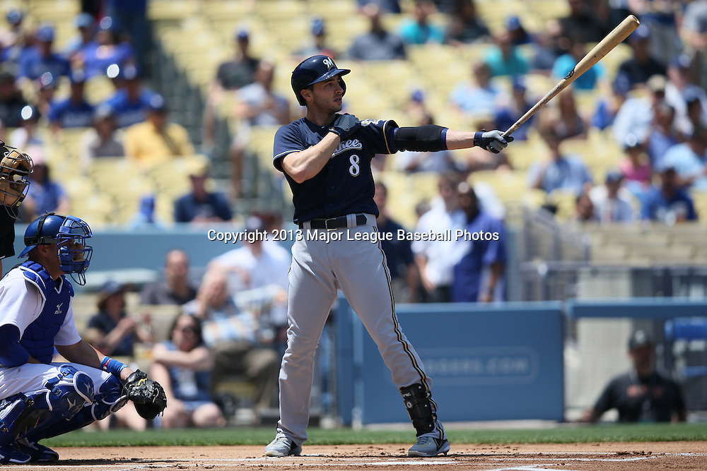 LOS ANGELES, CA - APRIL 28:  Ryan Braun #8 of the Milwaukee Brewers bats during the game against the Los Angeles Dodgers on Sunday, April 28, 2013 at Dodger Stadium in Los Angeles, California. The Dodgers won the game 2-0. (Photo by Paul Spinelli/MLB Photos via Getty Images) *** Local Caption *** Ryan Braun