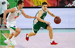 Roko Badzim of Petrol Olimpija vs Martin Jancar Jarc of Krka during basketball match between KK Petrol Olimpija and KK Krka in Round #6 of Liga Nova KBM za prvaka 2018/19, on April 5, 2019, in Arena Stozice, Ljubljana, Slovenia. Photo by Vid Ponikvar / Sportida
