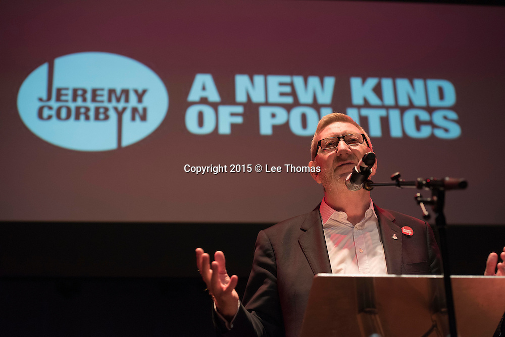 The Rock Tower, Tufnell Park Road, UK. 10th September, 2015.  Jeremy Corbyn MP attends a rally at The Rock Tower in Tufnell Park, north London. The venue is the setting for Mr Corbyn's final Islington rally before the new Labour Party leader is announced on Saturday in central London. Pictured:  Len McCluskey gives a rousing speech prior to Jeremy Corbyn..   // Lee Thomas, Flat 47a Park East Building, Bow Quarter, London, E3 2UT. Tel. 07784142973. Email: leepthomas@gmail.com. www.leept.co.uk (0000635435)