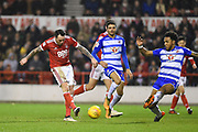 Nottingham Forest forward Lee Tomlin (15) shoots and scores a goal to make it 1-1 during the EFL Sky Bet Championship match between Nottingham Forest and Reading at the City Ground, Nottingham, England on 20 February 2018. Picture by Jon Hobley.