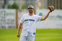 KELOWNA, CANADA - JUNE 28: Kelowna Rockets' assistant coach Kris Mallette warms up in the field during the opening charity game of the Home Base Slo-Pitch Tournament fundraiser for the Kelowna General Hospital Foundation JoeAnna's House on June 28, 2019 at Elk's Stadium in Kelowna, British Columbia, Canada.  (Photo by Marissa Baecker/Shoot the Breeze)