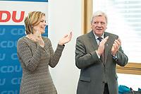 27 MAR 2016, BERLIN/GERMANY:<br /> Julia Kloeckner (L), CDU Landesvorsitzender Rheinland-Pfalz, und Volker Bouvier (R), CDU, Ministerpraesident Hessen, applaudieren vor Beginn einer Sitzung des Bundesvorstandes nach der Landtagswahl im Saarland, Konrad-Adenauerhaus<br /> IMAGE: 20170327-01-003<br /> KEYWORDS: Julia Kl&ouml;ckner, Jubel, klatschen klatscht