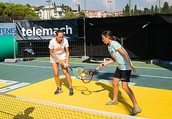 Kaja Juvan at Kids Day during Day 7 at ATP Challenger Zavarovalnica Sava Slovenia Open 2018, on August 9, 2018 in Sports centre, Portoroz/Portorose, Slovenia. Photo by Vid Ponikvar / Sportida