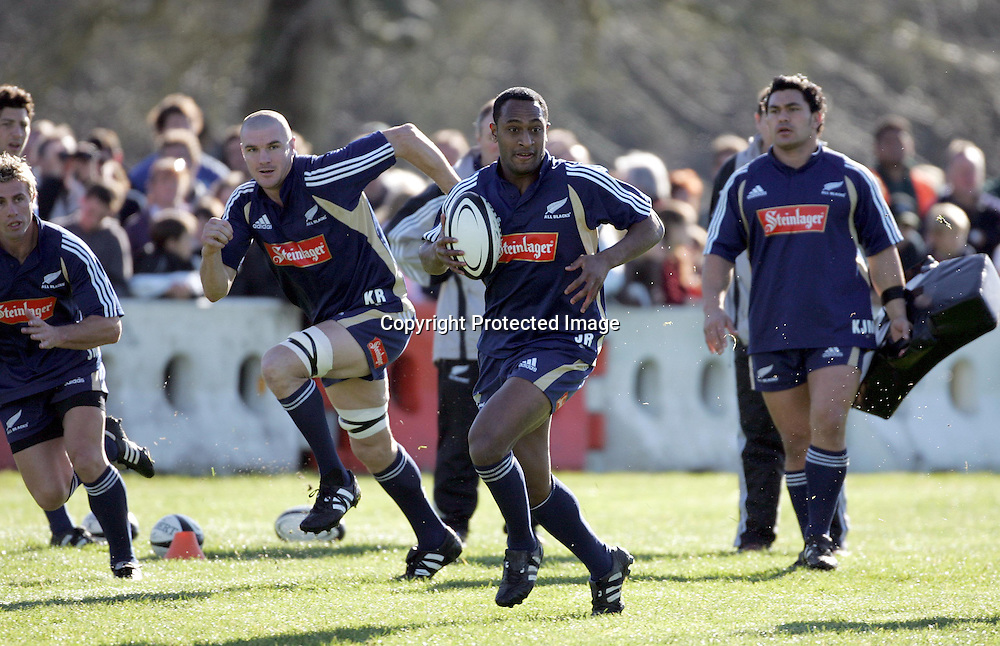 Joe Rokocoko during the All Blacks training session at Silverdale United RFC, North of Auckland, New Zealand, Wednesday 7th July 2004. The All Blacks play the Pacific Islanders on Saturday.<br />
