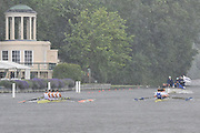 Henley, GREAT BRITAIN, 2012 Silver Goblets & Nickals' Challenge Cup, M4X, Leander Club (Bucks) and Sport Nautique Compiegnois and Emulation Nautique de Bordeaux, FRA, (Berks)  race past Temple Island, in a heavy rain shower.  Saturday  12:21:27  30/06/2012    [Mandatory Credit, Intersport Images]. ...Rowing Courses, Henley Reach, Henley, ENGLAND . HRR
