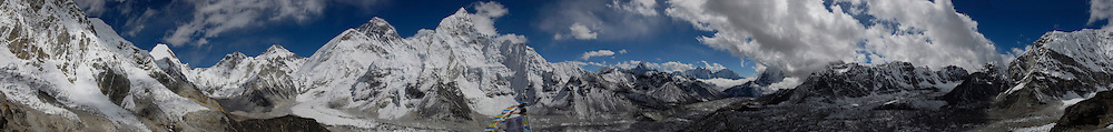 Massive panorama of the Everest region taken from the summit of Kala Pattar, Nepal. Prominent peaks and features from left to right are: Lingtren, Khumbutse, Changse, West Shoulder, Everest, South Col, Lhotse, Nuptse, Ama Dablam, Kangtega, and Thamserku.<br />