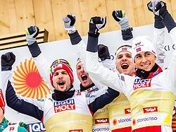 02.03.2019, Seefeld, AUT, FIS Weltmeisterschaften Ski Nordisch, Seefeld 2019, Nordische Kombination, Teambewerb, Flower Zeremonie, im Bild Espen Bjoernstad (NOR), Joergen Graabak (NOR), Jan Schmid (NOR), Jarl Magnus Riiber (NOR) // Espen Bjoernstad of Norway Joergen Graabak of Norway Jan Schmid of Norway Jarl Magnus Riiber of Norway during the flowers ceremony for the team competition for Nordic Combined of FIS Nordic Ski World Championships 2019. Seefeld, Austria on 2019/03/02. EXPA Pictures © 2019, PhotoCredit: EXPA/ Stefanie Oberhauser