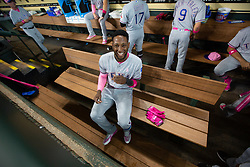 May 13, 2018 - Houston, TX, U.S. - HOUSTON, TX - MAY 13: Texas Rangers shortstop Jurickson Profar (19) shares a laugh prior to an MLB baseball game between the Houston Astros and the Texas Rangers, Sunday, May 13, 2018 in Houston, Texas. Houston Astros defeated Texas Rangers 6-1. (Photo by: Juan DeLeon/Icon Sportswire) (Credit Image: © Juan Deleon/Icon SMI via ZUMA Press)