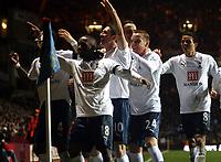 Photo: Mark Stephenson/Sportsbeat Images.<br /> Aston Villa v Tottenham Hotspur. The FA Barclays Premiership. 01/01/2008.Tottenham's Jermain Defoe (no 18) celebrates his goal for 1-1 with team mates