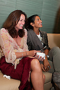 TRISH SIMONON; MAYA TURNBULL, Giogio Locatelli's book launch. Loconda. Portman Sq. London. 4 October 2011. <br /> <br />  , -DO NOT ARCHIVE-© Copyright Photograph by Dafydd Jones. 248 Clapham Rd. London SW9 0PZ. Tel 0207 820 0771. www.dafjones.com.