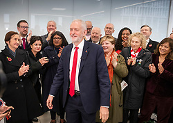 © Licensed to London News Pictures. 29/10/2019. London, UK. Labour Party Leader Jeremy Corbyn is applauded by the shadow cabinet at party headquarters after announcing that he will support an early general election. The government are expected to call for another vote on a general election in Parliament later today. Photo credit: Peter Macdiarmid/LNP