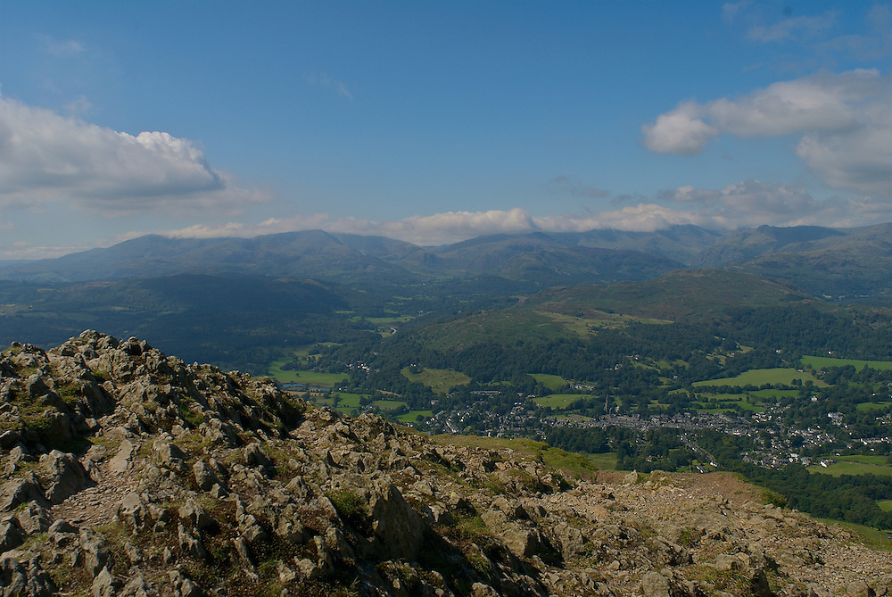 View of the Lake District town of Ambleside from the top of Wansfell