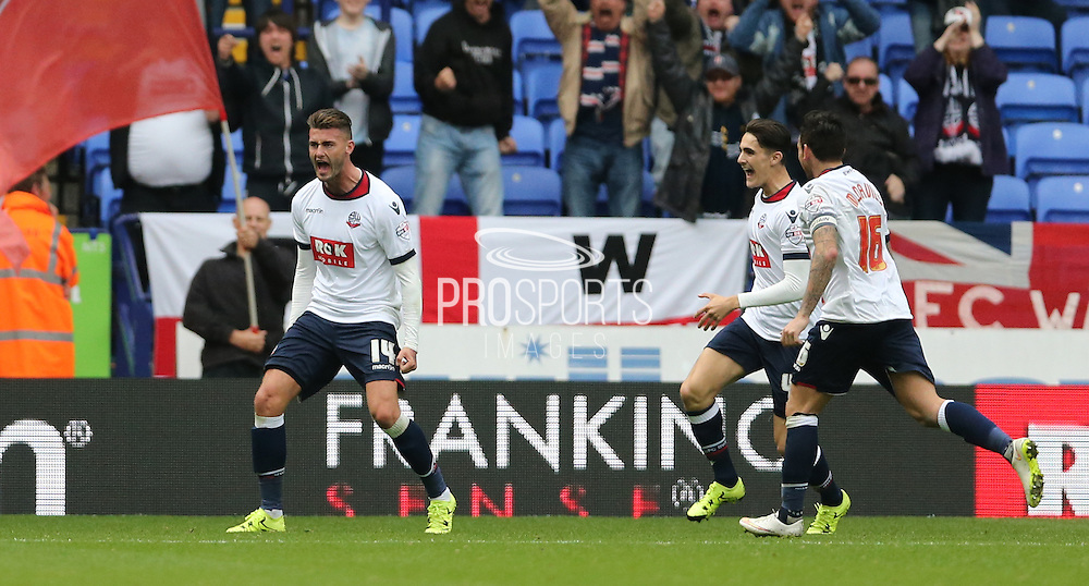 Bolton Wanderers striker Gary Madine scores during the Sky Bet Championship match between Bolton Wanderers and Brighton and Hove Albion at the Macron Stadium, Bolton, England on 26 September 2015.