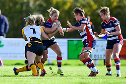 Claire Molloy of Bristol Ladies  is tackled by Amy Cokayne of Wasps Ladies - Mandatory by-line: Craig Thomas/JMP - 28/10/2017 - RUGBY - Cleve RFC - Bristol, England - Bristol Ladies v Wasps Ladies - Tyrrells Premier 15s