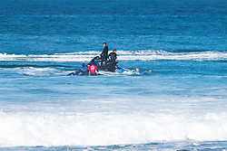 The Corona Open J-Bay competition was placed onholdwhen event organizers and safety teams began tracking a 3 metre Great White Shark (pictured) swimming into the competition lineup during the Quarterfinal heat between Gabriel Medina (BRA) and Mick Fanning (AUS) Fanning, a 3x WSL Champion, famously encountered an aggressive Great White during the opening minutes of the 2015 Final at Jeffreys Bay, the dramatic live broadcast vision of the encounter quickly becoming the biggest story on the planet.<br /> Response and Safety Teams placed the athletes onto boats and monitored the shark as it exited the lineup. After discussion with the Commissioner's Office and the athletes, competition resumed with Medina besting Fanning and advancing to the Semifinals today Wednesday July 19, 2017.  PHOTO: © WSL / Tostee.