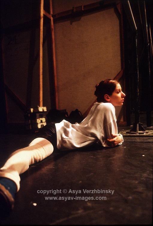 Molly Smolen stretching in the wings. Birmingham Royal Ballet