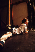 Molly Smolen stretching in the wings. Birmingham Royal Ballet