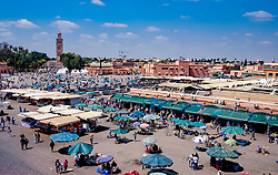 General view of the Jemaa el Fna - the main market square in old Marrakech, Morocco, North Africa<br /> <br /> (c) Andrew Wilson | Edinburgh Elite media