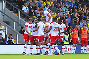 Rotherham United midfielder Ben Wiles (8) scores a goal and celebrates with teamates 0-1 during the EFL Sky Bet League 1 match between Burton Albion and Rotherham United at the Pirelli Stadium, Burton upon Trent, England on 17 August 2019.