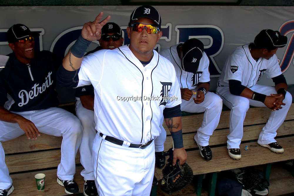 March 9, 2011; Lakeland, FL, USA; Detroit Tigers first baseman Miguel Cabrera (24) gestures from the dugout before a spring training exhibition game against the Philadelphia Phillies at Joker Marchant Stadium.   Mandatory Credit: Derick E. Hingle