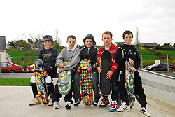 Boards at the ready at the opening of the Greenway park in Westport,.Charlie Walsh, Cian Rowe, Paul Brady, Pat Lambert and Danny McGovern...Pic Conor McKeown