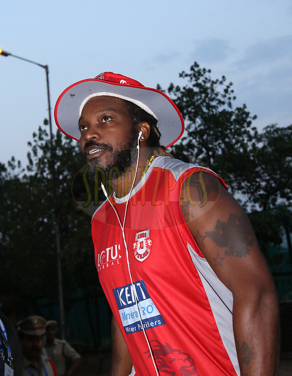 Kings Xi Punjab team arrival during match twenty five of the Vivo Indian Premier League 2018 (IPL 2018) between the Sunrisers Hyderabad and the Kings XI Punjab  held at the Rajiv Gandhi International Cricket Stadium in Hyderabad on the 26th April 2018.<br /> <br /> Photo by Saikat Das /SPORTZPICS for BCCI