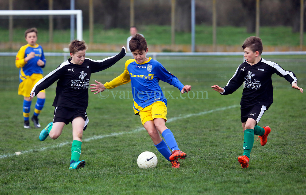 07 April 2018. Blaringhem, Pas de Calais, France.<br /> Phase District Festival U13 Pitch - Festival Foot U13. A tournament of 8 teams.<br /> US Montreuil U13a v A.S. Outreau.<br /> Montreuil a perdu 0-1.<br /> Photo©; Charlie Varley/varleypix.com
