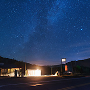 Starry sky over Dunmore Country Mart. Pocahontas County, West Virginia.