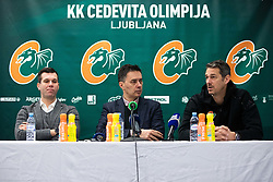Sani Becirovic, Davor Uzbinec and Jurica Golemac during press conference and introduction of new head coach for KK Cedevita Olimpija  on January 28, 2020 in Arena Stozice, Ljubljana, Slovenia. Photo By Grega Valancic / Sportida