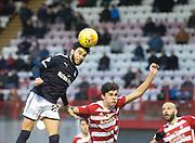 27th January 2018, SuperSeal Stadium, Hamilton, Scotland; Scottish Premiership football, Hamilton Academical versus Dundee; Dundee's Faissal El Bakhtaoui beats Hamilton Academical's Shaun Want in the air