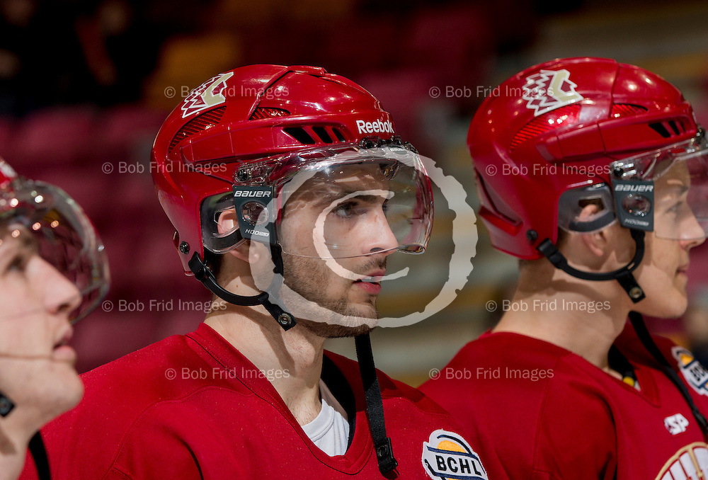 01 March 2014:  Andrew Silard (11) of the Chiefs  during a game between the Chilliwack Chiefs and the Coquitlam Express at Prospera Centre, Chilliwack, BC.    ****(Photo by Bob Frid - All Rights Reserved 2014): mobile: 778-834-2455 : email: bob.frid@shaw.ca ****