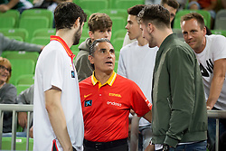 Sergio Scariolo, head coach of Spain and Luka Doncic during basketball match between Slovenia and Spain in Round #5 of FIBA Basketball World Cup 2019 European Qualifiers, on June 28, 2018 in SRC Stozice, Ljubljana, Slovenia. Photo by Urban Urbanc / Sportida