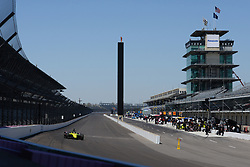 April 30, 2018 - Indianapolis, IN, U.S. - INDIANAPOLIS, IN - APRIL 30: Sebastien Bourdais (18) entering Turn 1 with the famous Pagoda and Scoring Pylon in the background during an Open Test on April 30, 2018, at the Indianapolis Motor Speedway in Indianapolis, IN. (Photo by James Black/Icon Sportswire) (Credit Image: © James Black/Icon SMI via ZUMA Press)