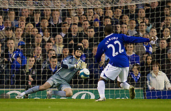 LIVERPOOL, ENGLAND - Thursday, April 17, 2008: Everton's Yakubu Ayegbeni sees his shot saved by Chelsea's goalkeeper Petr Cech during the Premiership match at Goodison Park. (Photo by David Rawcliffe/Propaganda)