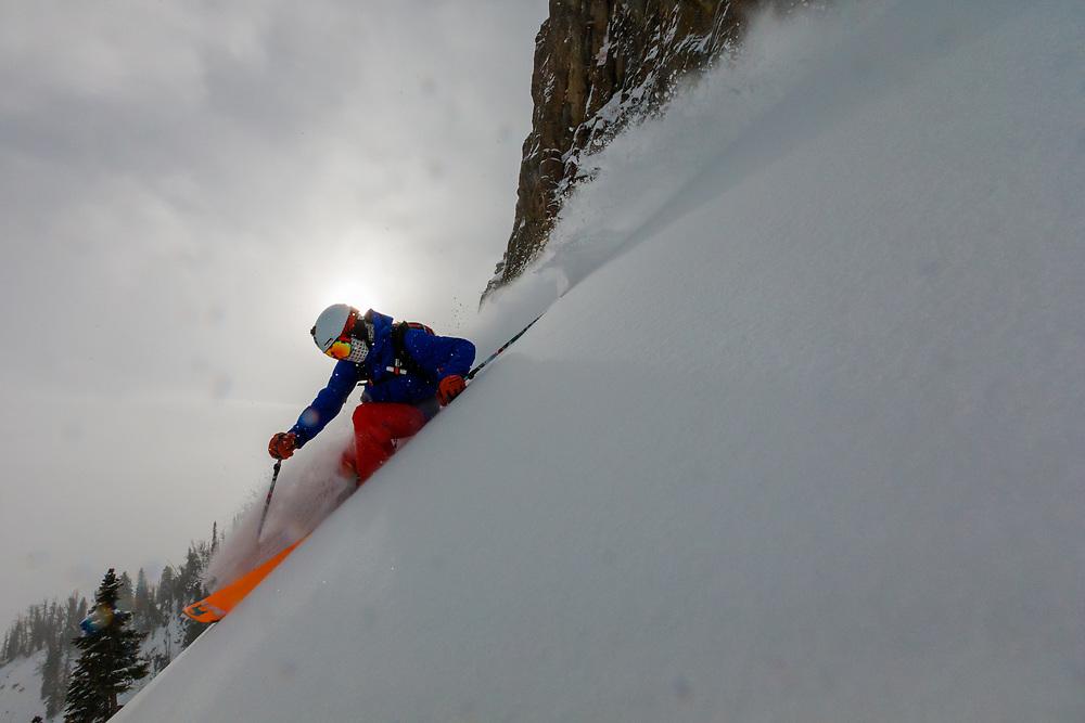 Andrew Whiteford skis storm powder in the Teton backcountry near Jackson Hole Mountain Resort. Teton Village, Wyoming.