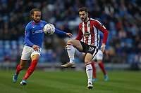 Football - 2019 / 2020 Emirates FA Cup - Second Round: Portsmouth vs. Altrincham<br /> <br /> Josh Hancock of Altrincham and Portsmouth's Marcus Harness in action during the FA Cup match at Fratton Park <br /> <br /> COLORSPORT/SHAUN BOGGUST