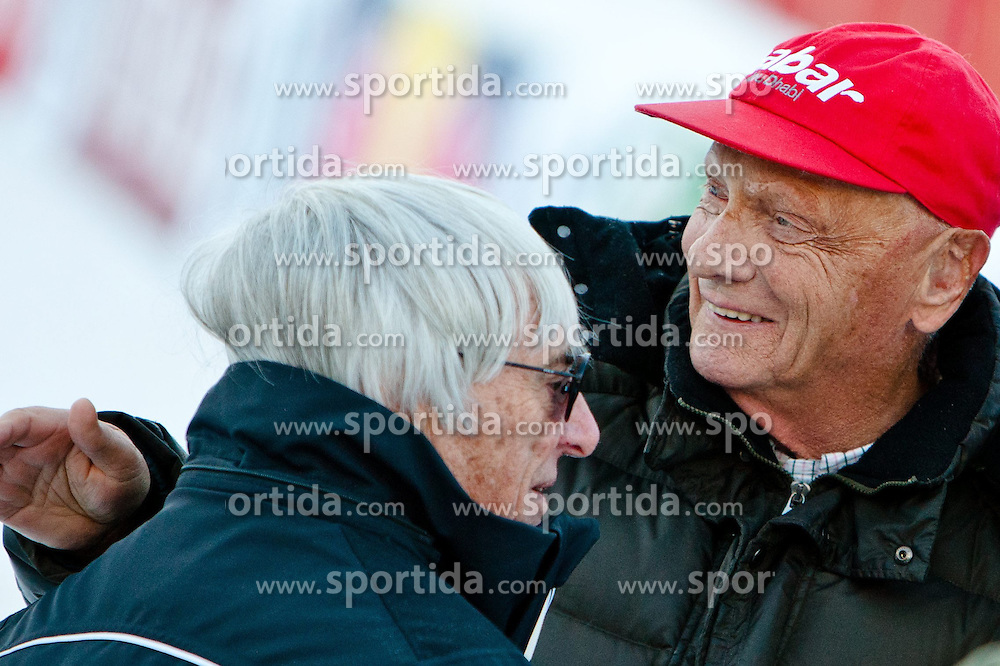 26.01.2013, Streif, Kitzbuehel, AUT, FIS Weltcup Ski Alpin, A1 Charity Race, Herren, im Bild Ceo der Formula One Bernie Ecclestone mit Nicki Lauda // during A1 Charity Race of the FIS Ski Alpine World Cup at the Streif course, Kitzbuehel, Austria on 2013/01/26. EXPA Pictures © 2013, PhotoCredit: EXPA/ Marcus Casna