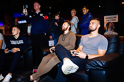 Josh Brownhill, Matty Taylor and Bailey Wright in action as Bristol City players visit the Belong by GAME gaming arena to play the new FIFA 18 - Rogan/JMP - 27/09/2017 - Merchant Street - Bristol, England.