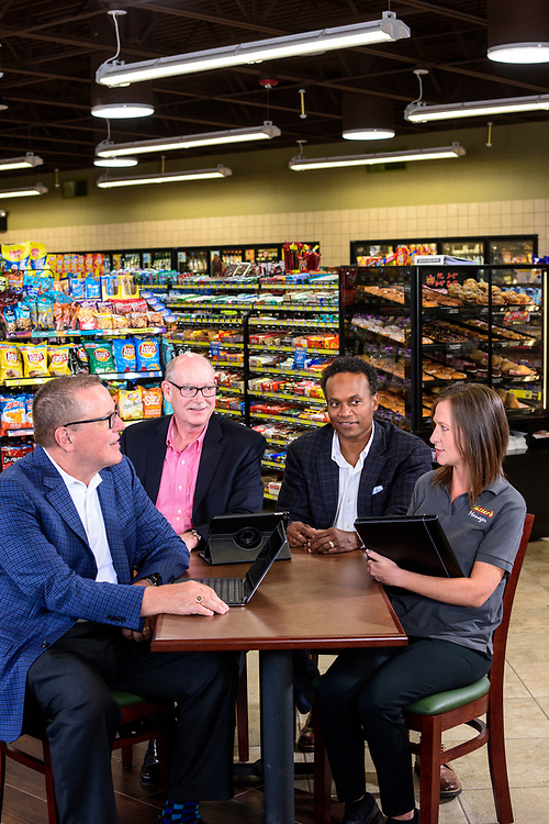 Annville, Pennsylvania - June 28, 2017: Rutters Executives (L-R) Scott Hartman, CEO, Jere Matthews, VP of operations, Derek Gaskins, Chief Customer Officer, and store manager Mindy Torney at the Rutters in Annville, Pennsylvania, Wednesday, June 28, 2017. Rutters received the highest vote for cleanliness in CSP's Mystery Shop report card.<br /> <br /> CREDIT: Matt Roth