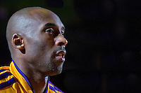 17 January 2013: Guard Kobe Bryant of the Los Angeles Lakers sits on the bench during player introductions before the Miami Heat's 99-90 victory over the Lakers at the STAPLES Center in Los Angeles, CA.