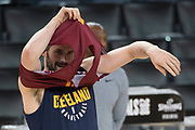 May 30, 2018; Oakland, CA, USA; Cleveland Cavaliers center Kevin Love (0) puts on his practice jersey during NBA Finals media day at Oracle Arena.