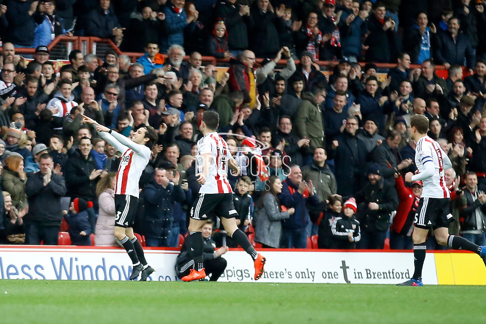 Brentford midfielder Jota (23) celebrates his goal (score 1-0) during the EFL Sky Bet Championship match between Brentford and Rotherham United at Griffin Park, London, England on 25 February 2017. Photo by Andy Walter.