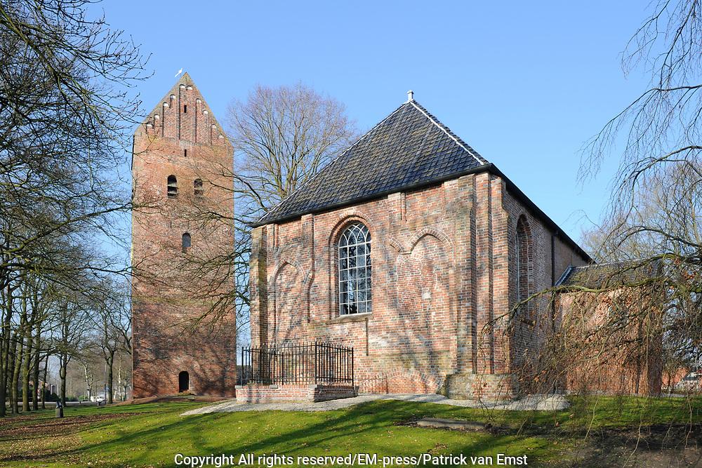 Hervormde Kerk Slochteren.<br /> <br /> Kerk met vrijstaande hoge toren uit omstreeks 1300. In de toren hangt een klok uit 1373, die vermoedelijk afkomstig is uit de kloosterkerk van Wittewierum.<br /> <br /> Reformed Church Slochteren.<br /> <br /> Church with freestanding tower from about 1300. In the tower hangs a bell from 1373, which probably comes from the monastery of Wittewierum.